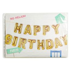 Talking Tables 'Happy Birthday' Balloon Bunting ($18) ❤ liked on Polyvore featuring home, home decor, holiday decorations and gold