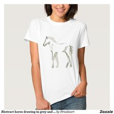 Abstract horse drawing in grey and beige tones -