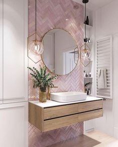 Elegant and luxurious bathroom design ideas for stylish decor -. - Elegant and luxurious bathroom design ideas for stylish decor – - Pink Bathroom Tiles, Pink Tiles, Modern Bathroom, White Tiles, Master Bathrooms, Bathroom Wallpaper, Dream Bathrooms, Pink Small Bathrooms, Mirrored Tile Bathroom