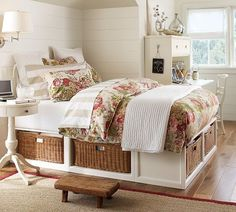 platform bed with baskets for storage