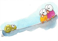 ACEO Original watercolor art painting whimsical birds on a wire Chameleon yikes #IllustrationArt