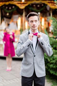 Fliege für den Bräutigam zur Hochzeit, pink, Beere von Noni  auf DaWanda.com