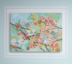 """Cherry Blossom Art"" by Pottery Barn Kids-- absolutely beautiful!!!! @Jenna Merkel, tell me you could do something similar to this! ;)"