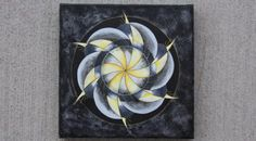 """Spiral grey and gold mandala design celebrated the subtle colors of winter skies. To learn the easy watercolor technique I used to create this mandala, see my blog post on """"Stained-Glass"""" Mandalas at http://www.creativeenergycare.com/stained-glass-mandalas/"""