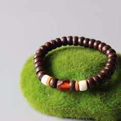 Beaded Bracelet: Natural Coconut Shell Beaded Stretch Bracelet - Bracelets World