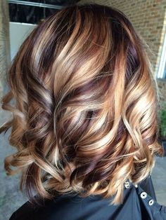 It looks like a mahogany brown color with blonde streaks, pretty way to go dark but keep blonde in.::
