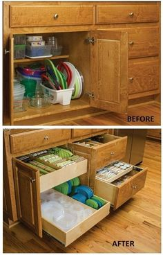 Organize Food Storage Containers - pull-out cabinet organizers keep all the lids and containers organized and neat