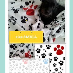 Paw Prints SMALL Pet Doggie Blanket 24 x 32- Red Black, Pink/Gray, Blue/Gray Minky Blanket... $29.50