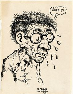 "Robert Crumb - sketchbook drawing - "" Self Portrait "" - 1969"