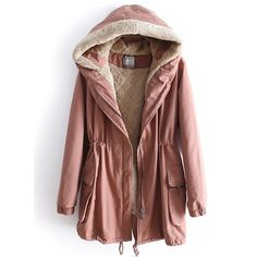 Dark Pink Hooded Long Sleeve Drawstring Pockets Coat (255 BRL) ❤ liked on Polyvore featuring outerwear, coats, jackets, tops, pink, pink coat, drawstring parka, parka coat, brown parka and cotton coat