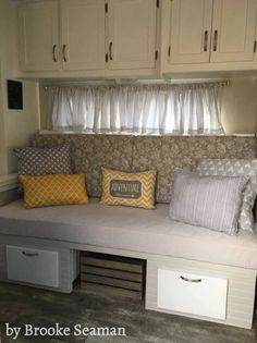 RV dining booth rebuilt as sofa bed by Jon and Brooke Seaman   Facebook.com/seacoservicess