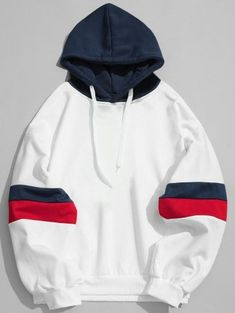 Drawstring Splicing Color Block Hoodie - White M Hoodies For Sale, White Hoodie, Sweater Hoodie, Hoody, Pulls, Pattern Fashion, Sweaters, Sweatshirts, Funny Hoodies