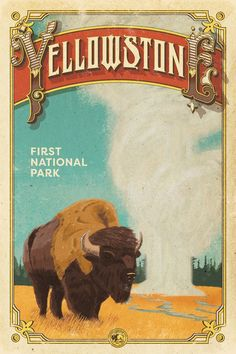 Yellowstone Poster Yellowstone National Park by NationalParkArt Art Deco Posters, Wpa Posters, Retro Posters, National Park Posters, Vintage Fur, Vintage Room, Vintage Makeup, Park Art, Yellowstone National Park