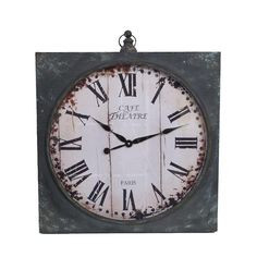 30 in. x 26 in. Oliver Antique Grey Metal Wall Clock