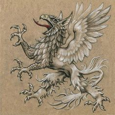 Griffin Tattoo, Mythological Creatures, Fantasy Creatures, Mythical Creatures, Engraving Illustration, Botanical Illustration, Dance Of Death, Medieval Paintings, Animal Symbolism