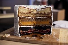"The Cherpumple: The dessert version of the turducken. ""A base of cherry pie baked inside chocolate cake, pumpkin pie baked inside spice cake and apple pie baked inside yellow (or white) cake — which is all finally smothered in vanilla frosting."""