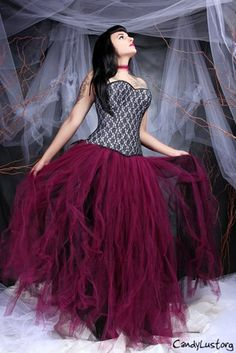 Burgundy Gothic Bridal Formal Long Tulle Skirt Adult Large MTCoffinz