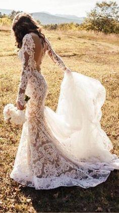 Wedding Dress Tight, Backless Lace Wedding Dress, Long Sleeve Wedding, Wedding Dress Sleeves, Backless Dresses, Maxi Dresses, Bridesmaid Dresses, Summer Dresses, Lace Trumpet Wedding Dress