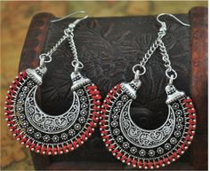 Boho Long Drop Earrings Silver Carved Ethnic Power Bohemian Earrings Tribal Earrings, Silver Drop Earrings, Women's Earrings, Statement Earrings, Cheap Earrings, Black Earrings, Earrings Photo, Unique Earrings, Silver Ring