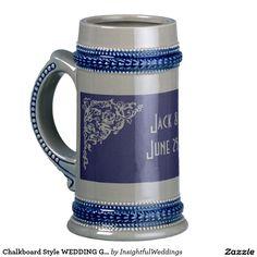 Chalkboard Style WEDDING Gift 18 Oz Beer Stein from InsightfulWeddings* on Zazzle > 2 customized gift mugs SOLD 7.22.15