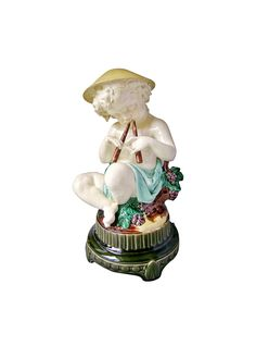 Léon Sazérat Majolica Boy Designed by Albert Carrier Belleuse