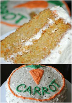 Super moist, from scratch Carrot Cake. Delicious cream cheese frosting with pecans!