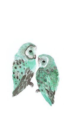 Water color owl wallpaper.