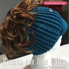 Get a Free Crochet Messy Bun Hat Pattern that is for Him and Her! The Ribbed For Him and Her hat pattern is a fun project to crochet. It does take a bit more time than a simple double crochet messy bun hat but it is worth it! Crochet Hat With Brim, Crochet Winter Hats, Knitted Hats, Crochet Hats, Crochet Headbands, Beanie Pattern Free, Crochet Beanie Pattern, Crochet Patterns, Hat Patterns