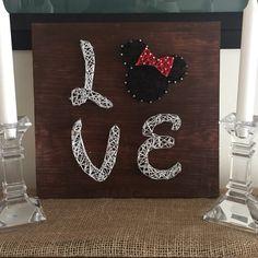 String Art LOVE Minnie mouse wall decoration custom order by CraftsByMaritza… String Wall Art, Nail String Art, String Crafts, Diy Craft Projects, Diy And Crafts, Arts And Crafts, Disney Diy, Disney Crafts, Disney String Art