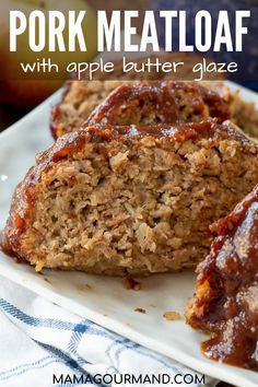 Pork Meatloaf might just be the best meatloaf recipe out there. Ground pork is mixed with shredded apples, oatmeal, and covered in a tangy sweet sauce. #groundpork #meatloaf #glutenfree #best #apple #oats