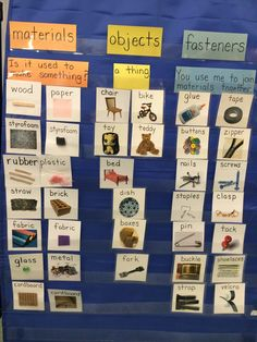 Structures - grade Materials, Objects and Fasteners on our pocket chart First Grade Science, Primary Science, Elementary Science, Science Classroom, Classroom Activities, Classroom Ideas, Materials And Structures, Materials Science, Teaching Skills