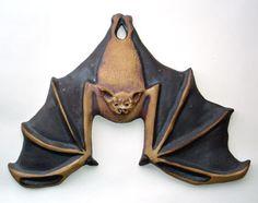 Vintage bat ornament Bat Craft, Clay Ornaments, Animal Jewelry, Halloween Crafts, Illustrations, Creepy, Sculptures, Creations, Antiques