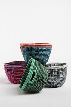 big and colorful woven grass baskets. so pretty! $29 each at Urban Outfitters. (Not happening.)