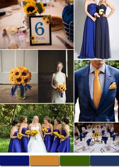 royal bue and dark yellow wedding color schemes and bridesmaid dresses styles