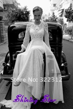 I'd die to wear this as my wedding dress....Vintage White Elegant Chiffon with Lace Long Sleeves Beading Gorgeous Wedding Dress for Bridal-in Wedding Dresses from Apparel  Accessories on Aliexpress.com