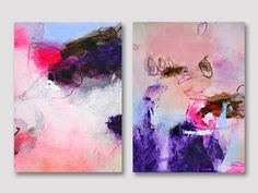 2 parts original abstract paintings on paper two by ARTbyKirsten