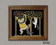 Carol and Max on the tree Cross Stitch Pattern available for instant download via Etsy. Adapted from illustration Maurice Sendak The scheme is