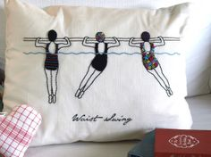 A delightful vintage Vogue aqua exercise diagram interpreted in embroidery on this pillow Hand Embroidery Designs, Embroidery Patterns, Cross Stitch Patterns, Embroidered Roses, Embroidery On Clothes, Weaving Projects, Embroidery Needles, Textile Art, Sewing Crafts