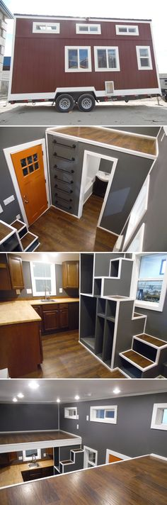 A 20' tiny house built by Upper Valley Tiny Homes. They used bold colors throughout the house, including dark brown cabinets and dark grey walls.