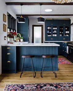 05 a chic navy kitchen with white stone countertops, dark wooden beams and chairs for a contrast - DigsDigs Green Kitchen Cabinets, Navy Kitchen, Ikea Kitchen, Kitchen Colors, Kitchen Decor, Kitchen Furniture, Kitchen Ideas, Plywood Furniture, Kitchen Layout