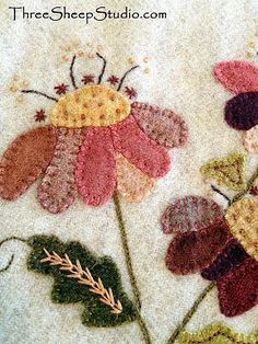 Wool Applique with hand dyed wool. Embellished with Hand Embroidery. I've donated this Jacobean Wool Applique Wall Hanging to the Artisans' Porchwalk 'Benefit Auc Wool Applique Quilts, Wool Applique Patterns, Crewel Embroidery Kits, Wool Quilts, Felt Applique, Hand Embroidery Patterns, Embroidery Books, Embroidery Alphabet, Embroidery Needles