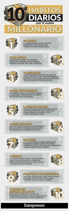 10 hábitos diarios que te harán millonario #infografia  Ven a vernos a  http://psicopedia.org