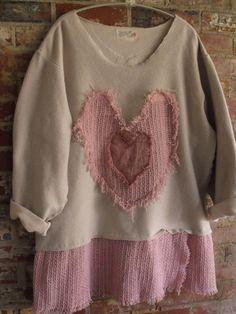 Valentine Delight/Cream Fleece Shirt/Turned Inside by SheerFab