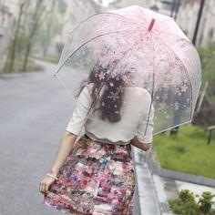 New Fashion Cherry Umbrella Transparent Clear Cherry Blossom Mushroom Rain Gear