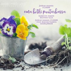 juliste-oma-hetki-puutarhassa-west Motivational Quotes, Inspirational Quotes, Enjoy Your Life, Summer Garden, Live Life, Wise Words, Positivity, Flowers, Plants