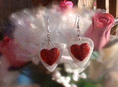Sparkly Red Heart Guitar Pick Earrings - Color Pick of Your Choice