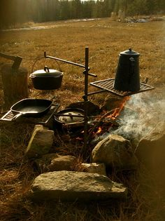 """Campfire cooking at it's best Campfire Cooker """"Grandpa Jakes"""" This is a heavy-duty campfire cooker, http://www.homesteaddryingracks.com/products.html"""