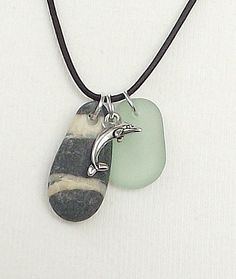 Beach rock jewelry Black striped stone  dolphin and by ocean gifts, 17.99