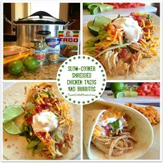 Sweet Little Bluebird: Slow-Cooker Shredded Chicken Tacos and Burritos