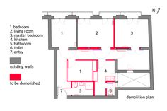 Luxury La Latina condo demolition plan all the red walls and items were removed to